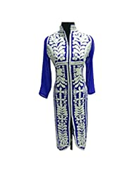 Blue And White Georgette Designer Party Wear Kurti Semi Stitched