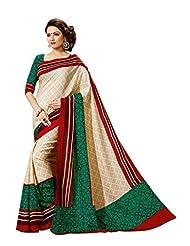 Vimlon Women's Weaved Cream, Green & Red Faux Tussar Silk Saree