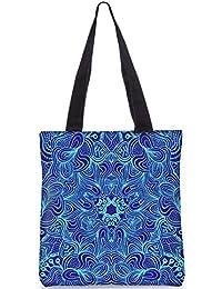 Snoogg Blue And Purple Digitally Printed Utility Tote Bag Handbag Made Of Poly Canvas
