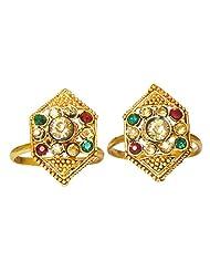 DollsofIndia Stone Studded Hexagonal Toe Ring - Stone And Metal - Golden