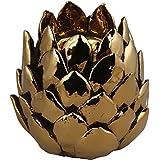 KRAFT N ROOM Ceramic Tealight Candle Holder (Gold, 16 Cm X 15 Cm X 16 Cm)