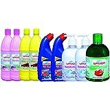 WASIQA FLOOR CLEANER ROSE FLAVOR PACK OF 2 + SANDAL FLAVOR PACK OF 2 + GENTLE LIQUID SOAP PACK OF 2 + CAR SHAMPOO...