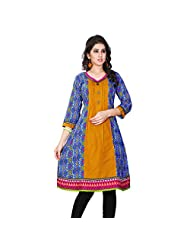 Miss & Mrs Party Wear 3/4 Sleeve Printed Cotton Women's KurtiX-Large - B00XND3W38