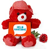 TiedRibbons® Valentine Gift For Boyfriend Teddy Bear With Valentine's Special Greeting Card And Red Rose