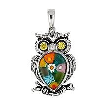 Multicolor Millefiori Owl Pendant With Cz Eyes