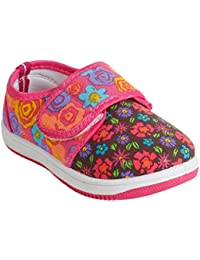 MYAU Kids Girl's Pink Flower Printed Stylish Comfortable Soft Cotton Casual Sneakers Cotton Sneakers For Kids