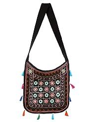 Rajrang High Quality Cotton Embroidered Circles Black Sling Bag