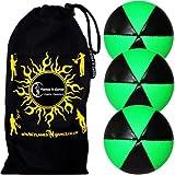 Flames N Games Astrix Uv Thud Juggling Balls Set Of 3 (Black/Green) Pro 6 Panel Leather Juggling Ball Set & Travel...