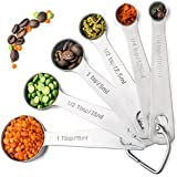 Palada 430 Stainless Steel Measuring Spoons, All In One Set Of 6 Professional Spoons, Engraved, Cute Ring Holder...