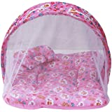 (SUMMER SPECIAL) Firststep Combo Of Baby Pink Mosquito Net Bed And New Born Baby Front Open Jhabla Set Pack Of 8 Pcs With 8 Nappies (0-3 Month) (ASSORTED)