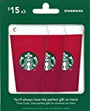Starbucks Gift Cards Red Cup, Multipack of 3 - $15