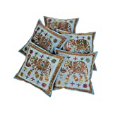 Rajrang Embroidered Throw Pillow Case Cushion Cover 16 By 16 Inches Set 5 Pcs - B00RQDNVUU