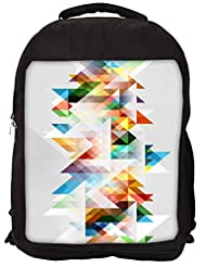 Snoogg Abstract Colourful Theme Backpack Rucksack School Travel Unisex Casual Canvas Bag Bookbag Satchel