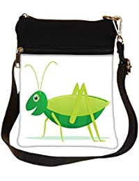 Snoogg Cute Cartoon Vector Grasshopper Cross Body Tote Bag / Shoulder Sling Carry Bag