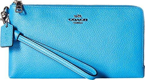 COACH Women's Double Zip Wallet SV/Azure Checkbook Wallet