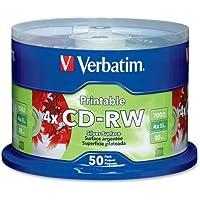Verbatim DataLifePlus - 50 X CD-RW - 700 MB 80min 2x - 4x - Silver - Ink Jet Printable Surface - Spindle