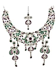 Exotic India Tri-Color Valentine Necklace With Earrings And Mang-Tika - White Metal With Cut Glass
