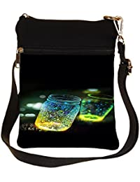 Snoogg Fluorescence Glitter Glass Bottle In Bokeh Dark Cross Body Tote Bag / Shoulder Sling Carry Bag