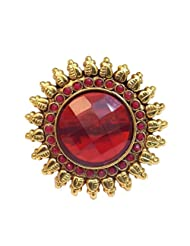 Elegant Elements Rajwadi Ethnic Colored Stone Adjustable Ring For Women EER07