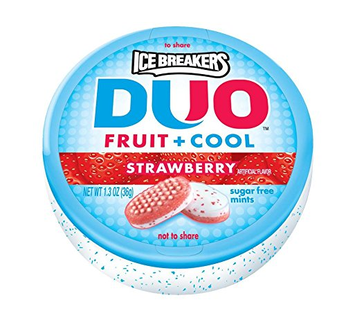 ICE BREAKERS DUO Fruit + Cool Sugar Free Mints (Strawberry, 1.3-Ounce Containers, Pack of 8)