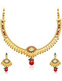 Sukkhi Artistically Gold Plated Temple Jewellery Necklace Set For Women