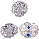 GS MUSEUM Silver Plated Rani Kumkum Plate 2 Sets And Silver Plated Roli Chawal Blue Diamond Plate