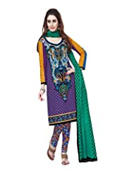 Sonal Trendz Women's Cotton Purple Printed Dress Material