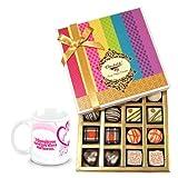 Chocholik Luxury Chocolates - Simple Elegance Of Dark And White Truffles And Chocolates With Love Mug