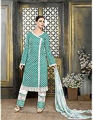 Justkartit Women's Straight Style Printed Cotton Semi-Stitched Salwar Kameez