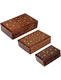 Craftgasmic Handmade Wooden Jewellery Storage Box -set Of 3(gift For Christmas)