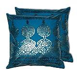 House This Darbaar Foli Print Blue Set Of 2 Cushion Covers- 16 X 16