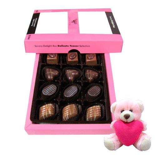 Valentine Chocholik Premium Gifts - Nice Amazing Collection Of Belgian Chocolates With Teddy