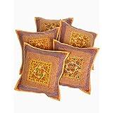 Rajrang Cotton Embroidered Mirror Work Sofa Cushion Cover Set Of 5 Pcs Set Of 5 Pcs