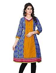 Aria Party Wear 3/4 Sleeve Printed Multicolor Cotton Women's Kurti - B00XW1NE2A