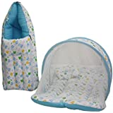 Amardeep Baby Mattress With Mosquito Net, Sleeping Bag Combo 0-3 Months (blue)