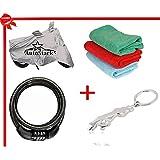 AutoStark Bike Body Cover Silver+ Helmet Lock+ Microfiber Cleaning Cloth+ Jaguar Shaped Keychain For KTM Duke...