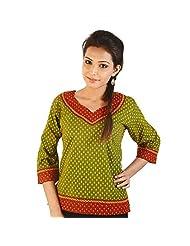 Jaipur RagaJaipuri Designer Leafy Print Green Cotton Top Red-Green Girls Kurti