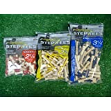 Pride Golf Tees PRIDE PROFESSIONAL STEP TEES TEES 2 1/8 - 2 3/4 - 3 1/4 NATURAL (3 BAGS)