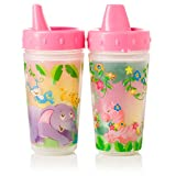 Evenflo Feeding Zoo Friends Insulated Sippy Cups, Pink, 10 Ounce
