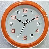 Ajanta Quartz Plastic Round Shape 20.5 Cm X 20.5 Cm Fancy Simple Small Size Home Decor Wall Clock (Orange) For...