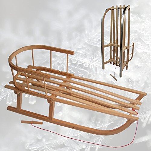 Rawstyle - Holzschlitten mit Rückenlehne + Zugleine ; Lehne Kinderschlitten Schlitten aus Holz Kinderschlitten NEU