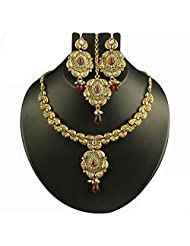 Gold Plated Austrian Stone Red Necklace Set With Maang Tikka - 2101901