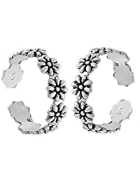 Gandhi Jewellers Sterling Silver Pair Of Beautiful Flower Design Toe Rings Pair.Toe Rings For Women.