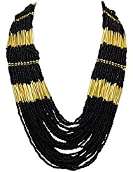 Multi-stranded Black Beads Necklace - Stylish And Trendy - Black And Golden Necklace For Women By FreshVibes