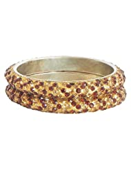 Pair Of Golden And Red Stone Studded Bangles - Stone And Metal