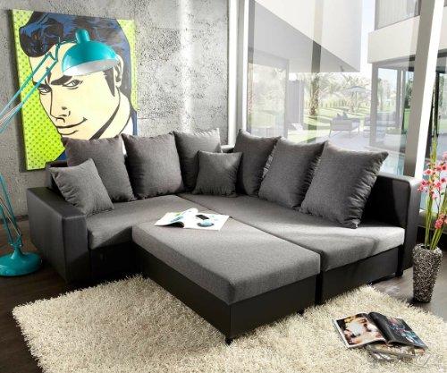 Ecksofa Lavello 210x210 cm Schwarz Grau Sofa + Hocker