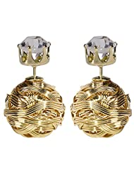 Celebrity Inspired Golden Crystal Charm Two-Sided Earrings By Via Mazzini