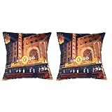 MeSleep Digital Print Wonderful Chicago City 2 Piece Cushion Cover Set - Multicolor