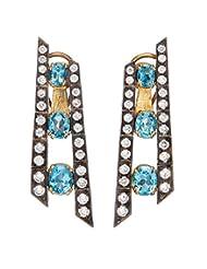 Amethyst By Rahul Popli Blue Silver Stud Earrings - B00OYSC14M