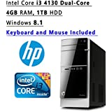 Newest HP Pavilion Flagship High Performance Tower Desktop PC   Intel Core I3 4130 Dual-Core   3.40 GHz   4GB RAM   1TB HDD   DVDRW   WIFI   Windows 8.1   Keyboard And Mouse